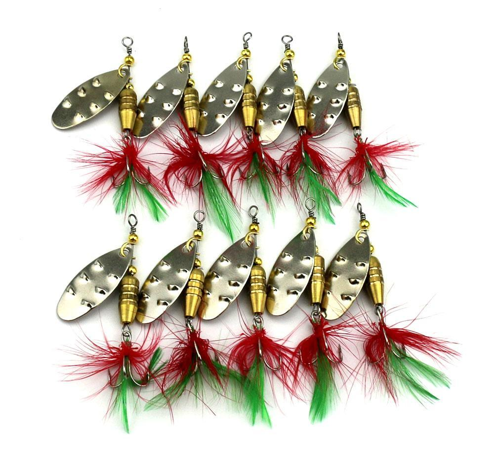 10Pcs/Lot Metal Spinnerbait Artificial Hard Spoon Lure Feather Hooks Pike Sequin-Musky & Pike Baits-Bargain Bait Box-Bargain Bait Box