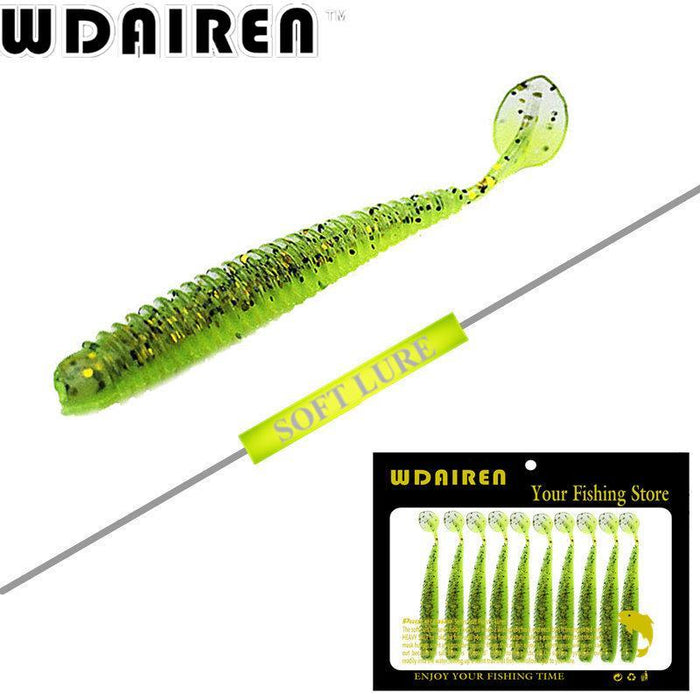 10Pcs/Lot Paddle Tail Soft Grubs 2G 7.5Cm Glow In Dark T Tail Lure Jig Head Soft-WDAIREN fishing gear Store-A-Bargain Bait Box