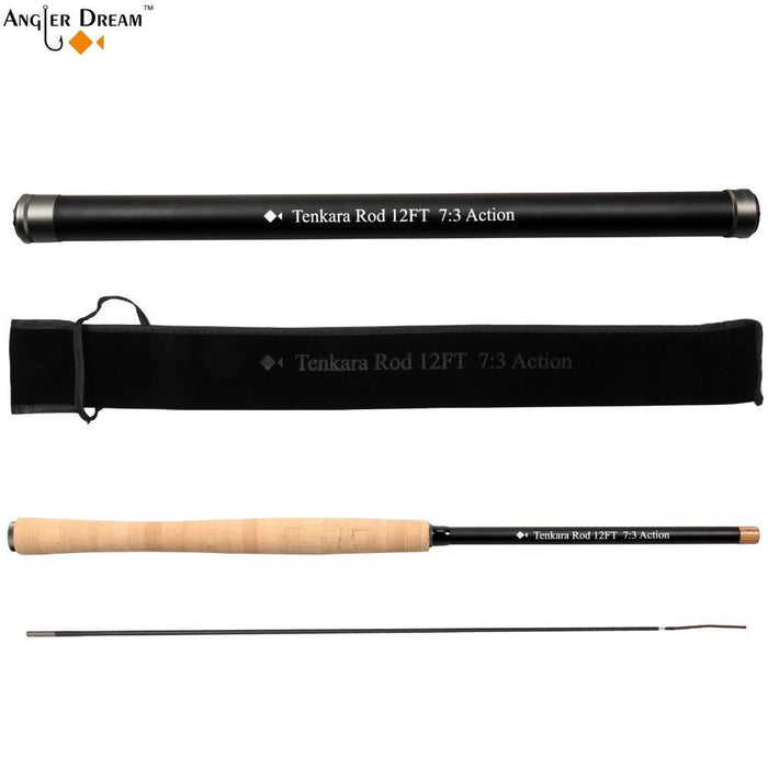 12 / 13Ft Tenkara Fly Rod With Spare Tip Telescoping Fishing Pole Carbon Fiber-Fly Fishing Rods-Bargain Bait Box-White-Bargain Bait Box