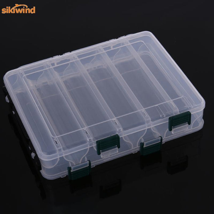 12 Compartments Transparent Double Sided Box Case Bait Lures Shrimp Tackle-Sikiwind Fishing Store-Bargain Bait Box
