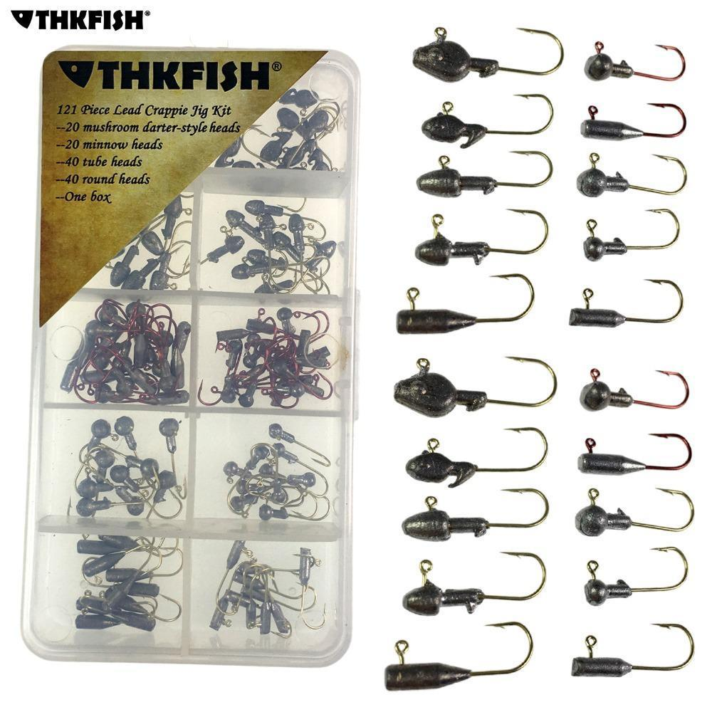 120Pcs 1G-3G Ice Jig Heads Fishing Hooks High Carbon Steel Darter Crappie Minnow-THKFISH Official Store-Bargain Bait Box