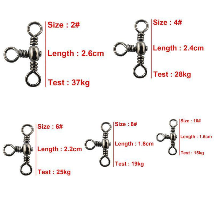120Pcs 3 Way Barrel Cross Line Fishing Swivel With Solid Ring Barrel Cross-shaddock fishing Official Store-Bargain Bait Box