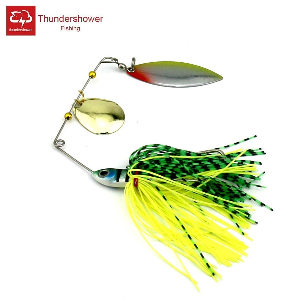 12Pcs 17.5G Silicone Skirt Jig Hard Metal Spinner Bait Bass Lure Spinner-Spinnerbaits-Bargain Bait Box-Bargain Bait Box