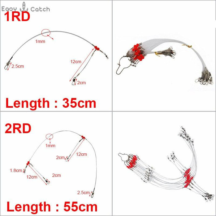 12Pcs 35Cm 55Cm Nylon Monofilament Fishing Wire Leaders Arms Trace Spinning-Fishing Lines-Fishing equipment Store-1RD 35cm-Bargain Bait Box