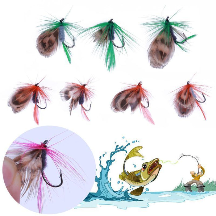 12Pcs Feather Fly Baits Set Attractive Swimming Stroke Lures Dry Flies Wet Flies-Flies-Bargain Bait Box-Bargain Bait Box