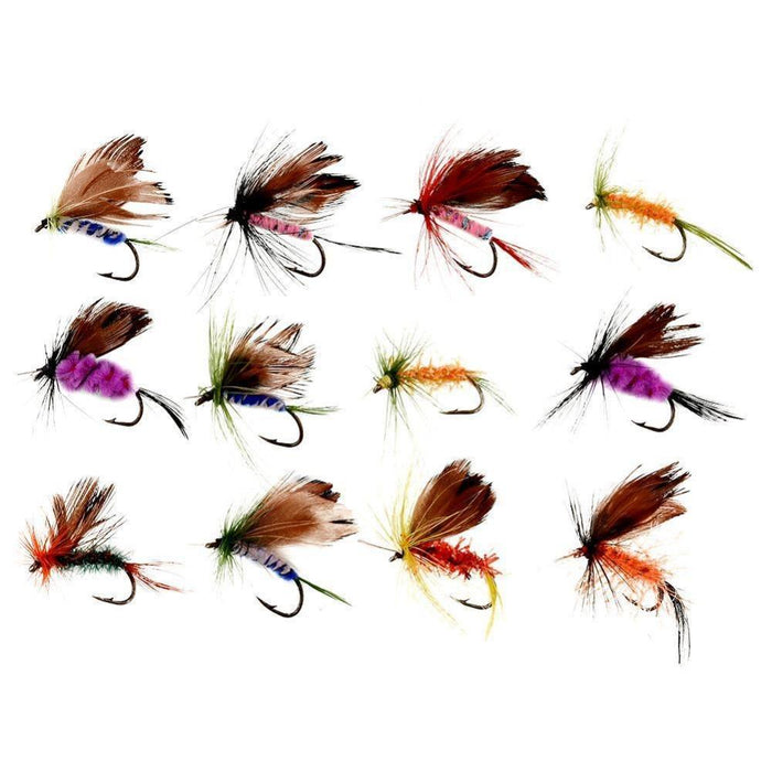 12Pcs/Lots Various Dry Fly Hooks Baits Tackle Tool Fishing Trout Flies Fish Hook-Flies-Bargain Bait Box-Bargain Bait Box
