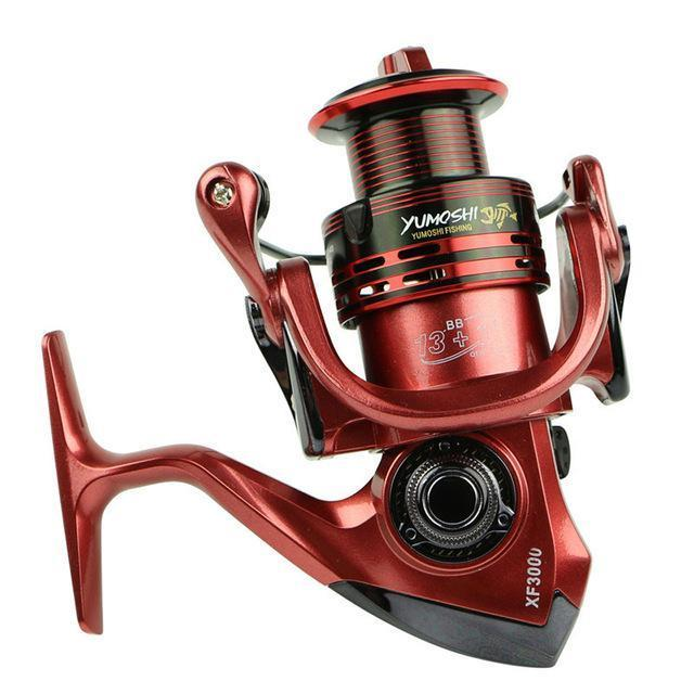 13+1Bb Spinning Fishing Reel System Metal Spool Long Casting Carp Fishing-Spinning Reels-KoKossi Outdoor Sporting Store-Red-1000 Series-Bargain Bait Box