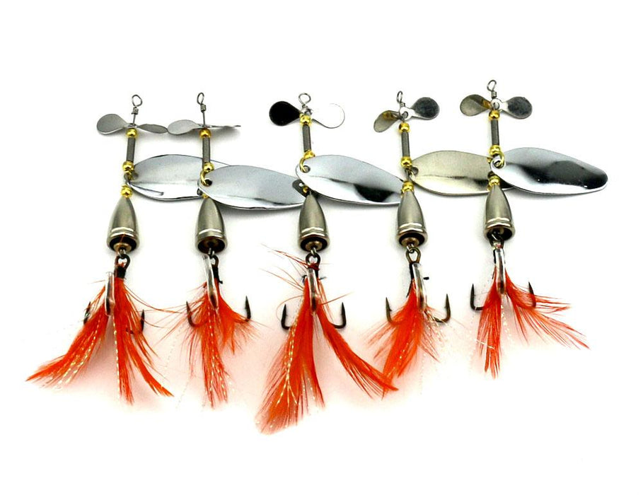13.6G 9.5Cm Silver Spinner Spoon Metal Muskys Fishing Tackle Orange Feather Hook-Inline Spinners-Bargain Bait Box-101-Bargain Bait Box