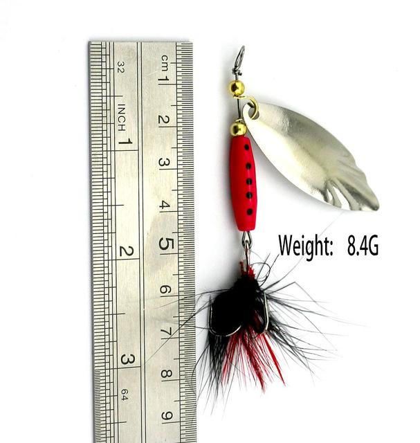 13.6G 9.5Cm Silver Spinner Spoon Metal Muskys Fishing Tackle Orange Feather Hook-Inline Spinners-Bargain Bait Box-55-Bargain Bait Box