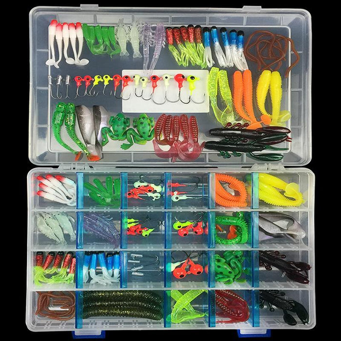 146Pcs Soft Fishing Soft Baits Earthworm Maggot Frog Fishing Lead Jig Head Hooks-Jig Kits-Bargain Bait Box-Bargain Bait Box