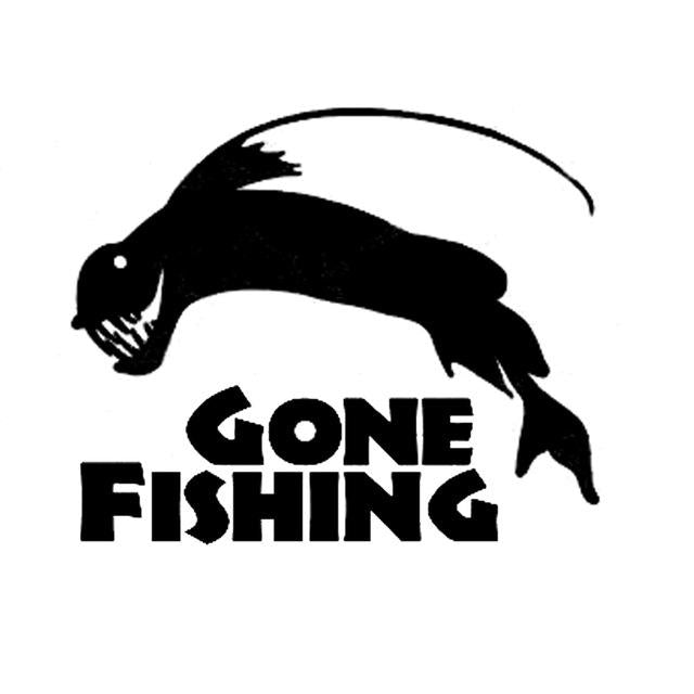 14 7Cm*12 1Cm Gone Fishing Scary Monster Motorcycle Stickers Decals S4-0292