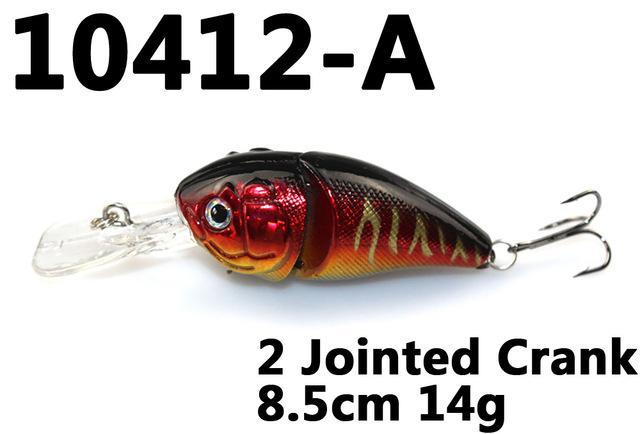 14G 85Mm Minnow 2 Jointed Rock Crank Bait Bass Treble Hook Swing Lure Baits S-Hard Swimbaits-Bargain Bait Box-10412 A-Bargain Bait Box