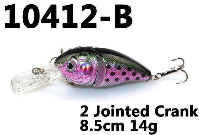 14G 85Mm Minnow 2 Jointed Rock Crank Bait Bass Treble Hook Swing Lure Baits S-Hard Swimbaits-Bargain Bait Box-10412 B-Bargain Bait Box