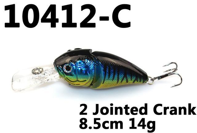 14G 85Mm Minnow 2 Jointed Rock Crank Bait Bass Treble Hook Swing Lure Baits S-Hard Swimbaits-Bargain Bait Box-10412 C-Bargain Bait Box