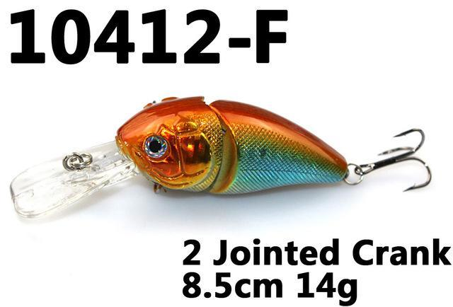 14G 85Mm Minnow 2 Jointed Rock Crank Bait Bass Treble Hook Swing Lure Baits S-Hard Swimbaits-Bargain Bait Box-10412 F-Bargain Bait Box