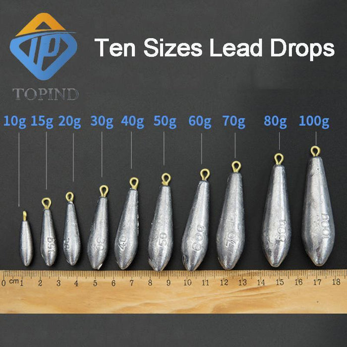 15 Pcs Lead Fishing Drop S Fishing Weight Sinkers Multiple Sizes Finesse Lead-Dropshot Weights-Bargain Bait Box-10g-Bargain Bait Box