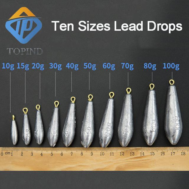 15 Pcs Lead Fishing Drop S Fishing Weight Sinkers Multiple Sizes Finesse Lead-Dropshot Weights-Bargain Bait Box-40g-Bargain Bait Box