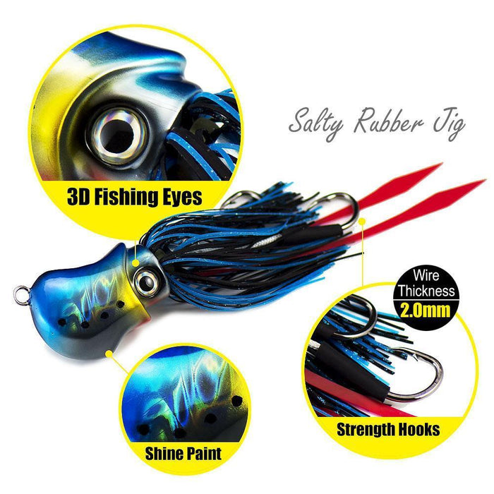 150G 5.3Oz Salty Rubber Bottom Madai Snapper Jig, Saltwater Fishing Jigging-countbass Official Store-Col 07-Bargain Bait Box
