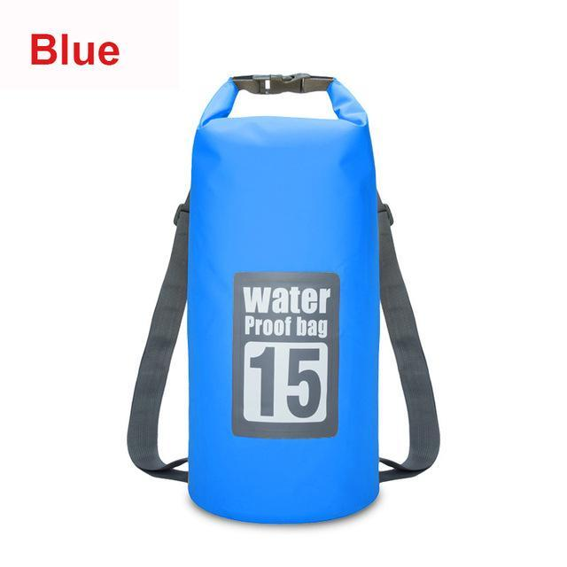 15L Waterproof Swimming Bag Backpack Bucket Dry Sack Storage Bag Rafting-Dry Bags-Bargain Bait Box-Blue-Bargain Bait Box