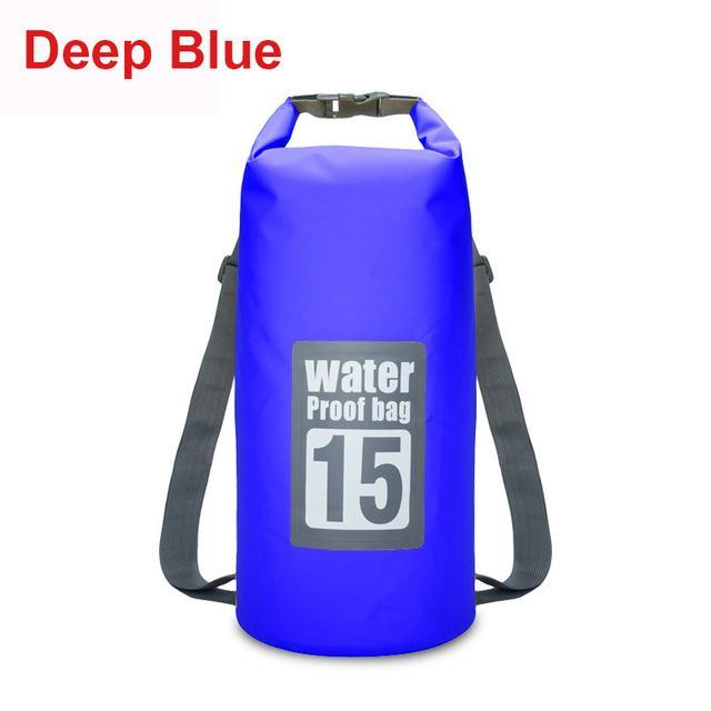 15L Waterproof Swimming Bag Backpack Bucket Dry Sack Storage Bag Rafting-Dry Bags-Bargain Bait Box-Deep Blue-Bargain Bait Box
