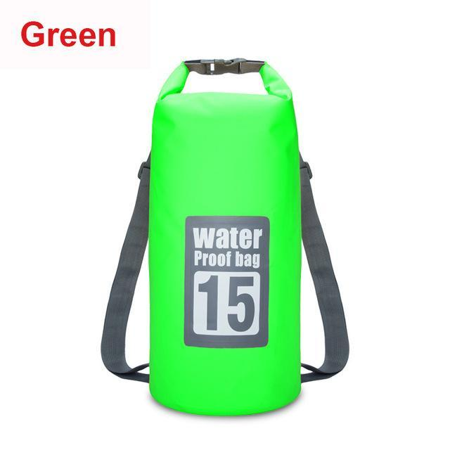 15L Waterproof Swimming Bag Backpack Bucket Dry Sack Storage Bag Rafting-Dry Bags-Bargain Bait Box-Green-Bargain Bait Box