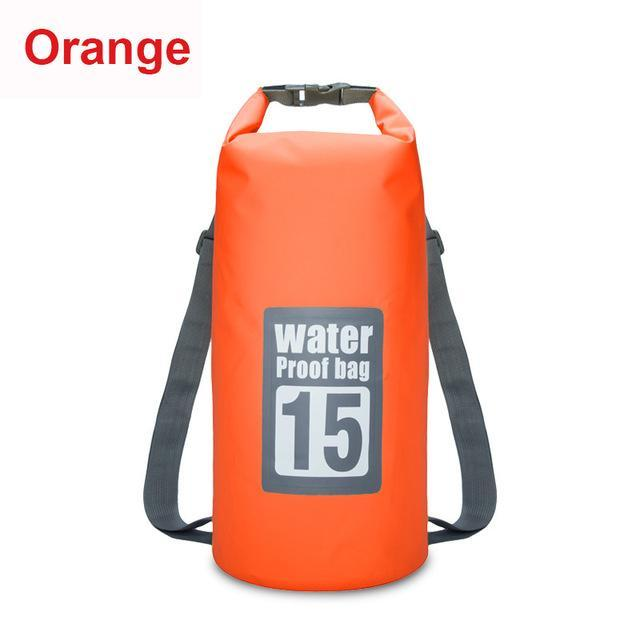 15L Waterproof Swimming Bag Backpack Bucket Dry Sack Storage Bag Rafting-Dry Bags-Bargain Bait Box-Orange-Bargain Bait Box