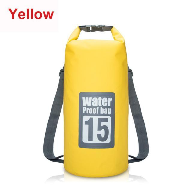 15L Waterproof Swimming Bag Backpack Bucket Dry Sack Storage Bag Rafting-Dry Bags-Bargain Bait Box-Yellow-Bargain Bait Box