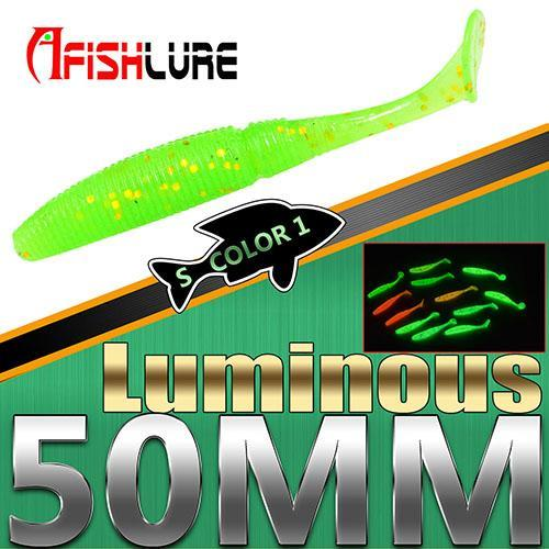 15Pcs/Lot Luminous Paddle Tail Soft Grubs 1G 50Mm Glow In Dark T Tail Jig Head-Glow Baits-Bargain Bait Box-Color1 Luminous-Bargain Bait Box