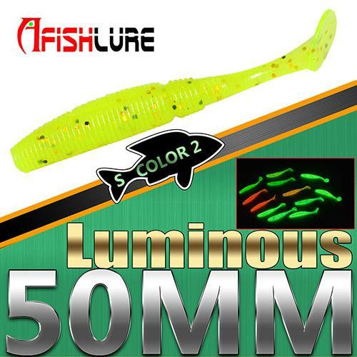 15Pcs/Lot Luminous Paddle Tail Soft Grubs 1G 50Mm Glow In Dark T Tail Jig Head-Glow Baits-Bargain Bait Box-Color2 Luminous-Bargain Bait Box
