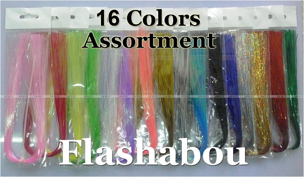 16 Colors, 16 Packs Flashabou, Holographic Tinsel, Flash, Fly Tying, Jig, Lure-Fly Tying Materials-Bargain Bait Box-Bargain Bait Box