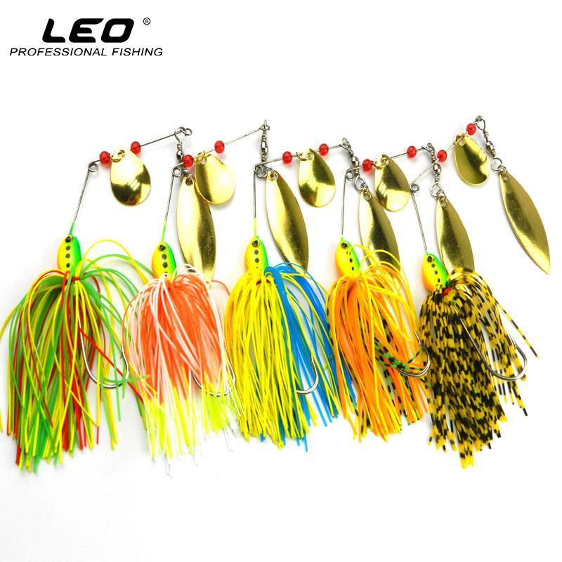 16.3G Double Golden Metal Spoon Spinner Lures Noisy Buzzbait Colorful Skirts-Spinnerbaits-Bargain Bait Box-Bargain Bait Box
