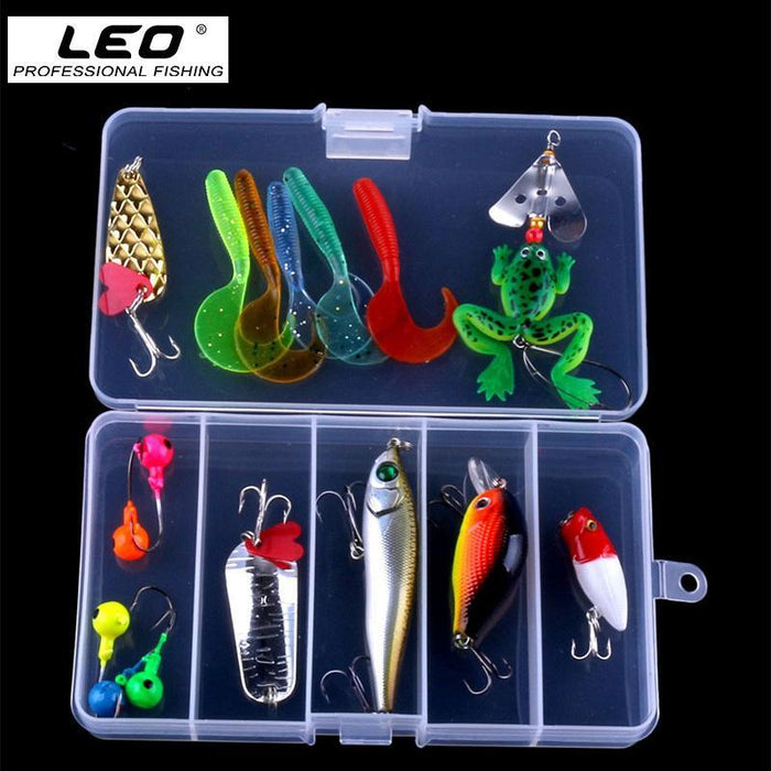 16Pcs Multiple Types Fishing Kit Soft Maggot Frog Spoon Minnow Popper Pencil-Mixed Combos & Kits-Bargain Bait Box-Bargain Bait Box