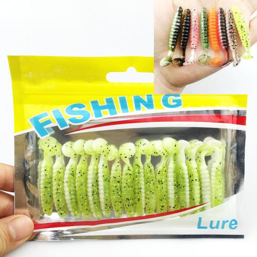 16Pcs/Lot Two-Color Bait T Tail Soft Grub 40Mm 1G Soft Fishing Paddle Tail-Unrigged Plastic Swimbaits-Bargain Bait Box-Color A-Bargain Bait Box