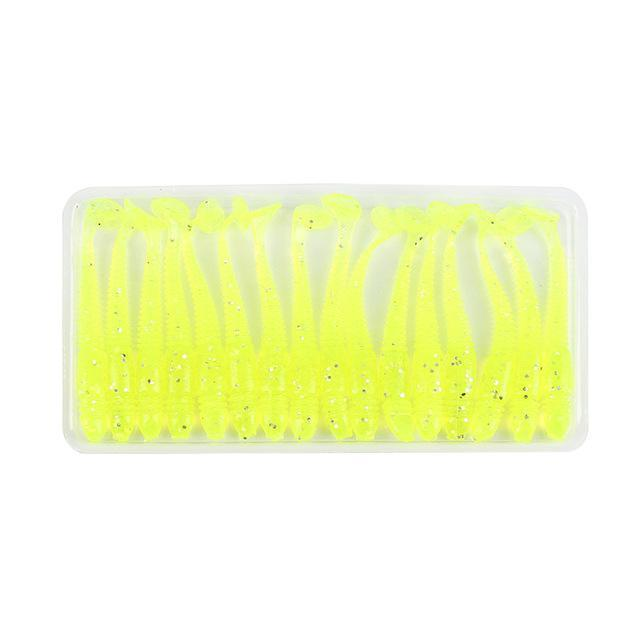 16Pcs/Lot Wobbler Jigging 5Cm 1G Silicone Bait Fishing Lure Soft Worm Shrimp-Super Online Technology Co., Ltd-Yellow-Bargain Bait Box