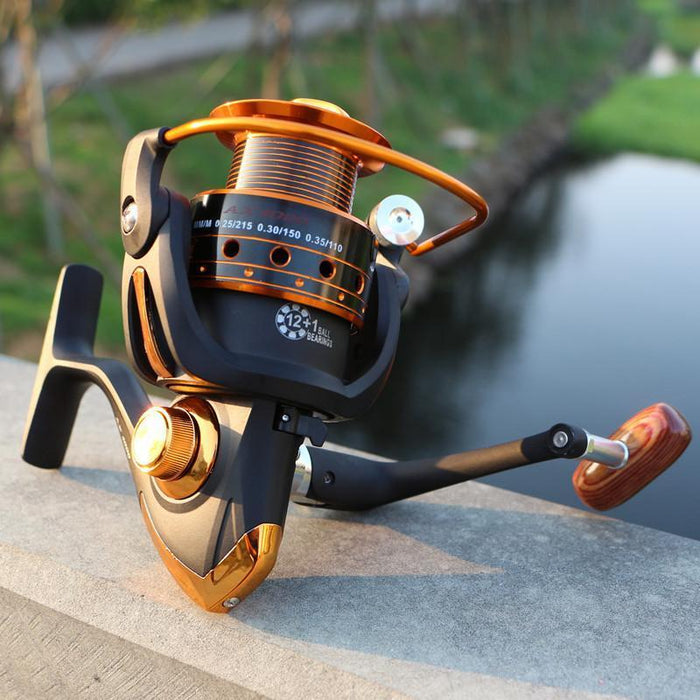 17 Latest Metal Spinning Fishing Reel 13Bb 5.5:1 Fishing Tackle Pesca Carrete-Spinning Reels-Sports fishing products-Black-1000 Series-Bargain Bait Box