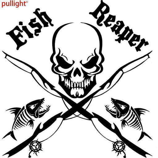 17Cm*17Cm Fish Reaper Skull Fishing Rod Car Boat Truck Window Vinyl Decal-Fishing Decals-Bargain Bait Box-Black-Bargain Bait Box