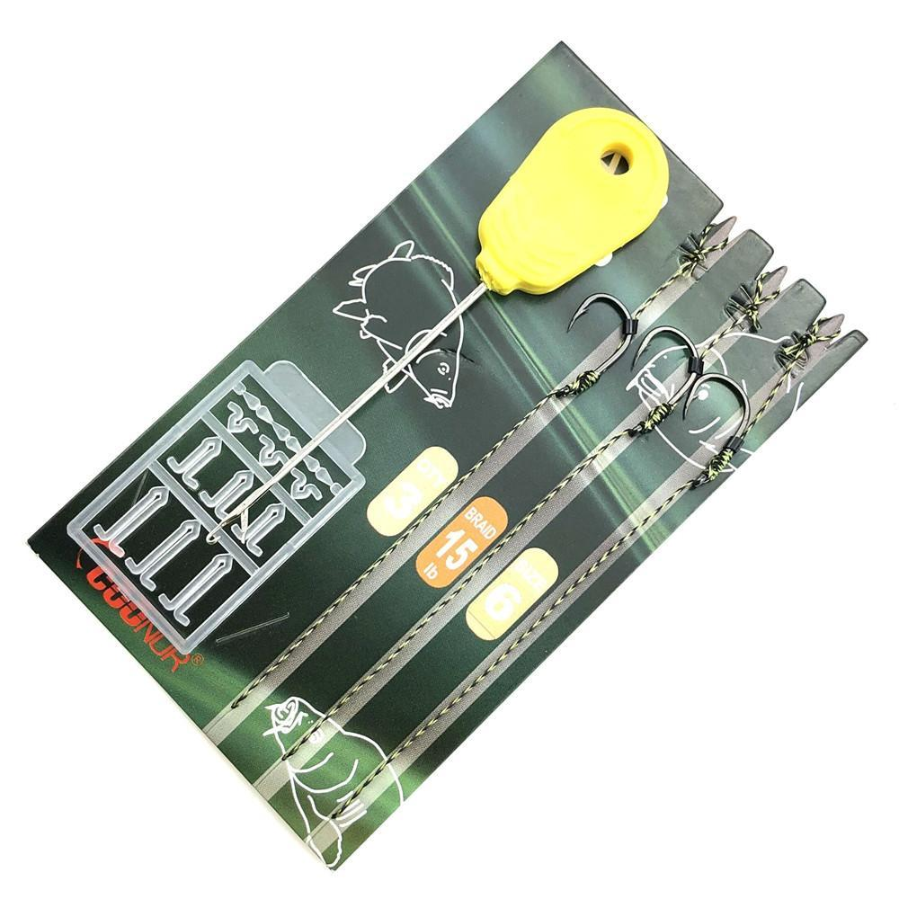 1Pack Carp Fishing Hair Rigs Set Carp Terminal Tackle Kit Ready Made Rigs With-Fishhooks-Y-LIN TargetCarp Store-1packs size4-Bargain Bait Box