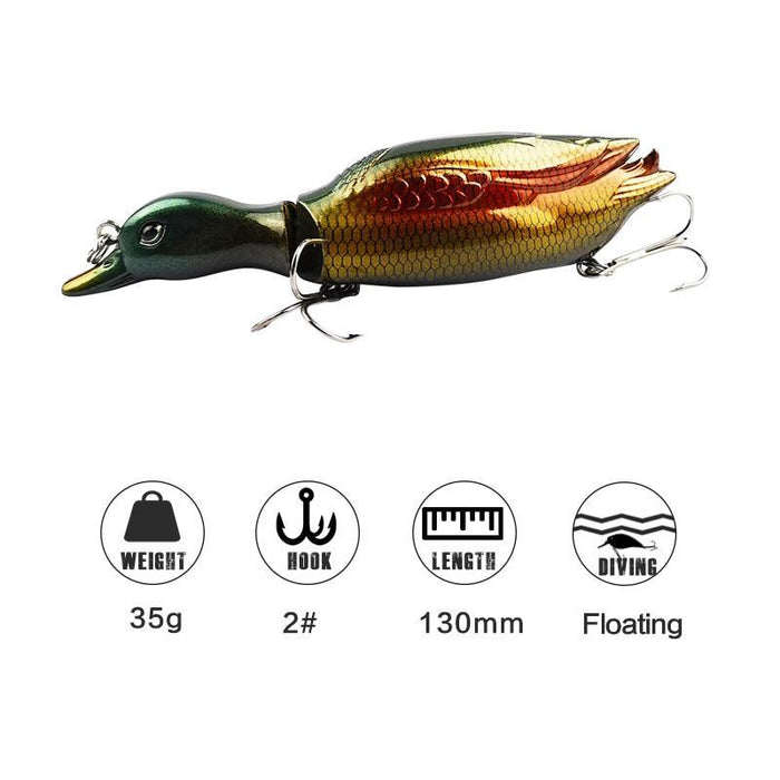 1Pc 13Cm Jointed Duck Fishing Lure 35G Artificial Fish Wobbler Swimbait 5-Fishing Lures-Mmlong outdoor product Store-A Blue Grey-Bargain Bait Box
