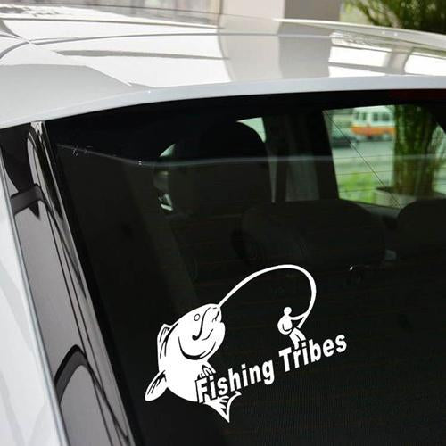 1Pc 14*10Cm Car Styling Funny Car Stickers Fishing Tribes Decal Waterproof Of-Fishing Decals-Bargain Bait Box-Silver White-Bargain Bait Box