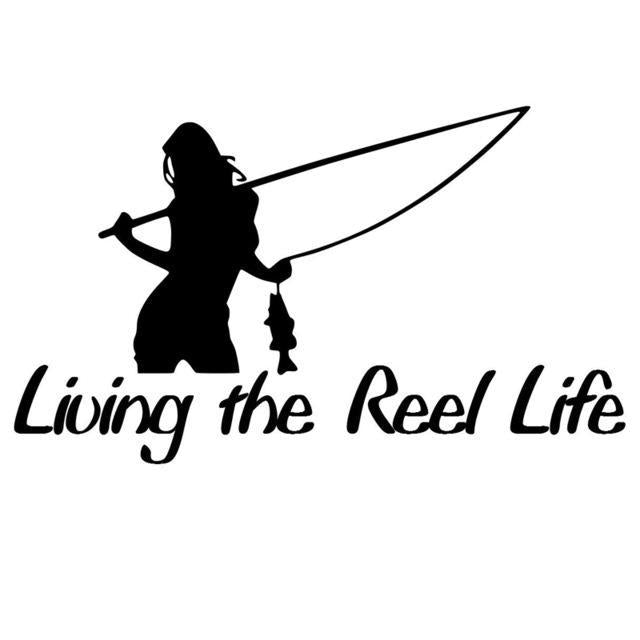 1Pc 15*8.8Cm Living The Reel Life Girl Sticker Fishing Decor Car Sticker Vinyl-Fishing Decals-Bargain Bait Box-Black-Bargain Bait Box