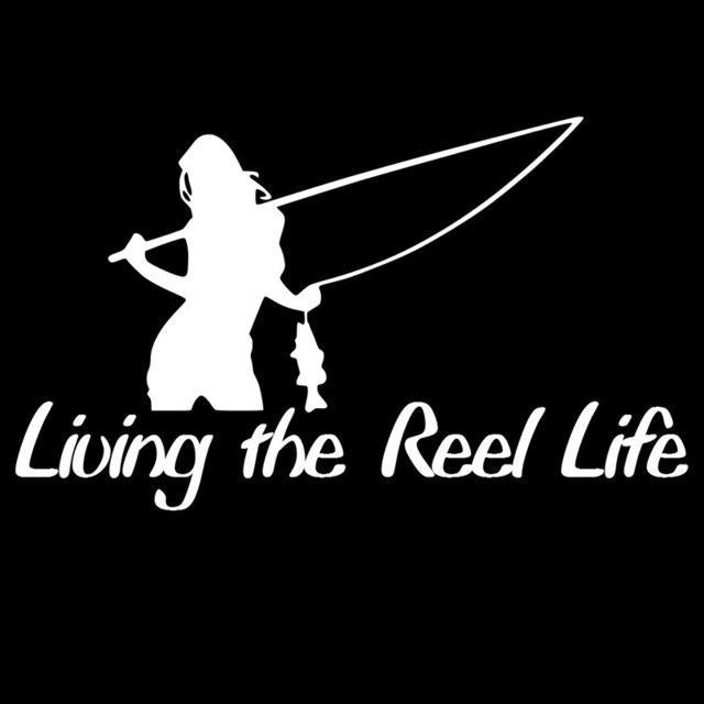 1Pc 15*8.8Cm Living The Reel Life Girl Sticker Fishing Decor Car Sticker Vinyl-Fishing Decals-Bargain Bait Box-White-Bargain Bait Box