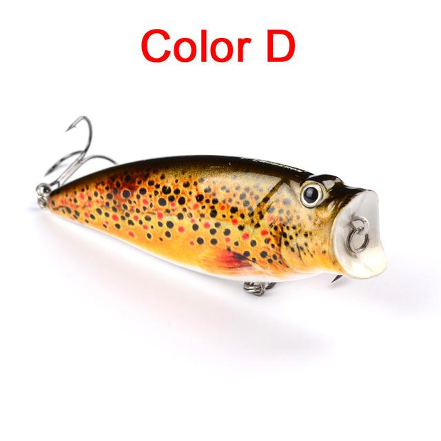 "1Pc 3.74""-9.5Cm 16.65G Fishing Tackle Popper Lure 6 Color Fishing Bait 4# Hook-Top Water Baits-Bargain Bait Box-Color D-Bargain Bait Box"