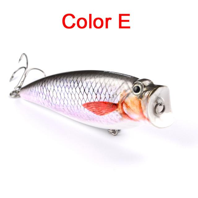"1Pc 3.74""-9.5Cm 16.65G Fishing Tackle Popper Lure 6 Color Fishing Bait 4# Hook-Top Water Baits-Bargain Bait Box-Color E-Bargain Bait Box"