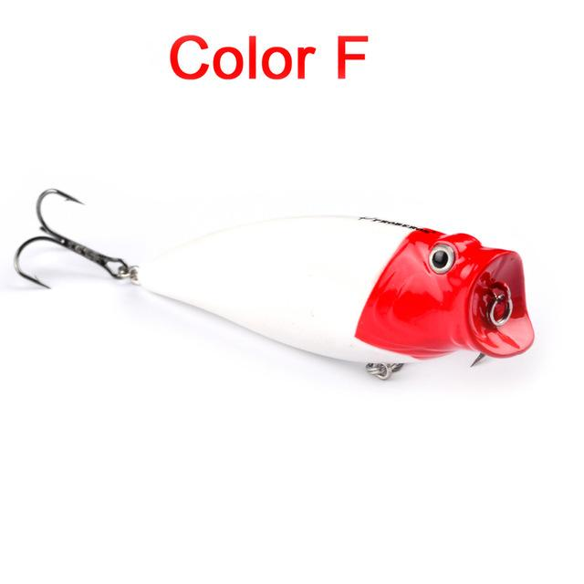 "1Pc 3.74""-9.5Cm 16.65G Fishing Tackle Popper Lure 6 Color Fishing Bait 4# Hook-Top Water Baits-Bargain Bait Box-Color F-Bargain Bait Box"