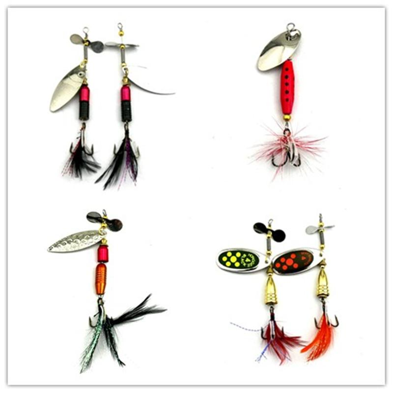1Pc 4 Style Sequin Bass Spoon Spinnerbait Metal Feather Fishing Tackle Hooks-Inline Spinners-Bargain Bait Box-SP176-Bargain Bait Box
