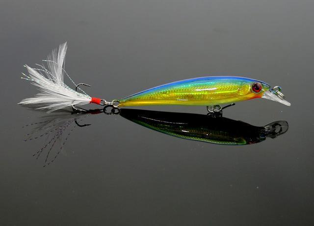 1Pc Fishing Lure 7.2G 9Cm Minnow Wobblers Hard Bait With Feather Hook Isca-HengJia Trade co., Ltd-1-Bargain Bait Box