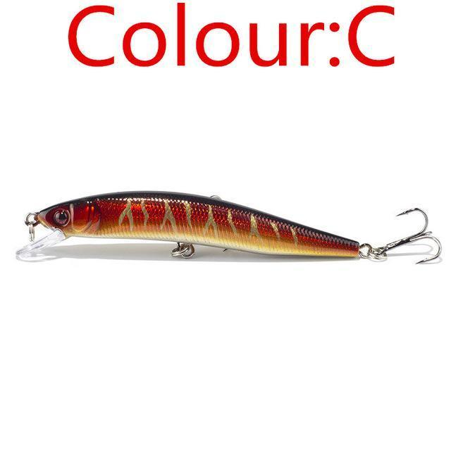 1Pcs 10Cm 8.5G Laser Minnow Wobblers Fishing Lure Pesca Hooks Fish Tackle-WDAIREN fishing gear Store-C-Bargain Bait Box