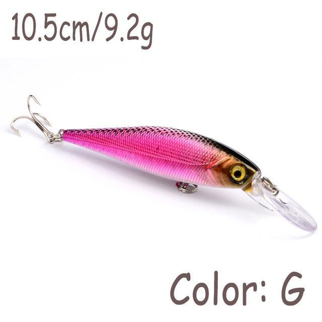 1Pcs 10Cm 9.2G Minnow Fishing Lure Wobbler Crankbait Artificial Hard Plastic-WDAIREN Fishing Store-G-Bargain Bait Box