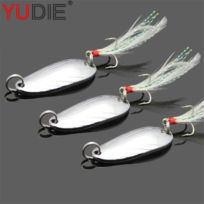 1Pcs 4.5Cm/5Cm 3G/5G Sequins Spoon With Feathers Hard Metal Lure For Erythrina-Casting & Trolling Spoons-Bargain Bait Box-gold 3g-Bargain Bait Box