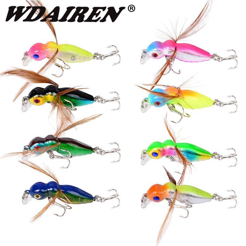 1Pcs 4Cm 3.5G Grasshopper Insects Fishing Lures Sea Fishing Tackle Flying Jig-WDAIREN fishing gear Store-C-Bargain Bait Box